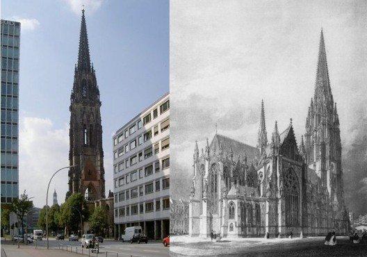 Die Nikolaikirche, vor und nach dem Krieg. (© Staro1, SKopp / Wikimedia / CC)