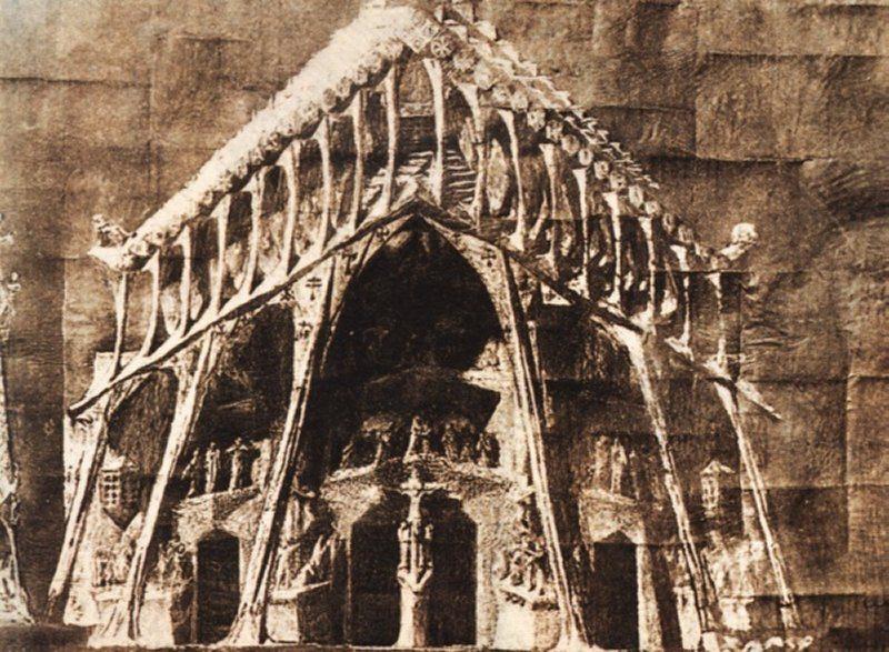 Die Gaudís Skizze der Passionsfassade