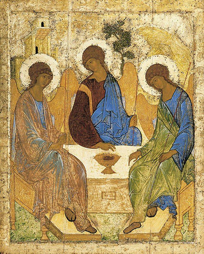 Dreifaltigkeitsikone von Andrej Rubjow, etwa 1411 (Bild: Wikimedia)