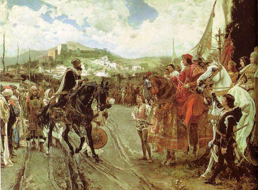 Boabdil begegnet Isabella I. von Kastilien und Ferdinand II. von Aragón, Gemälde von Francisco Pradilla y Ortiz, 1882 (Bild: Wikimedia)