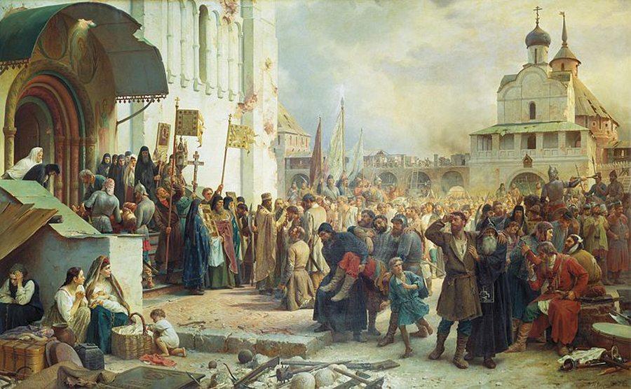 """Ölgemälde von W. Wereschagin """"Belagerung des Dreifaltigkeitslawra im Jahre 1608"""" (Bild: Wikimedia)"""