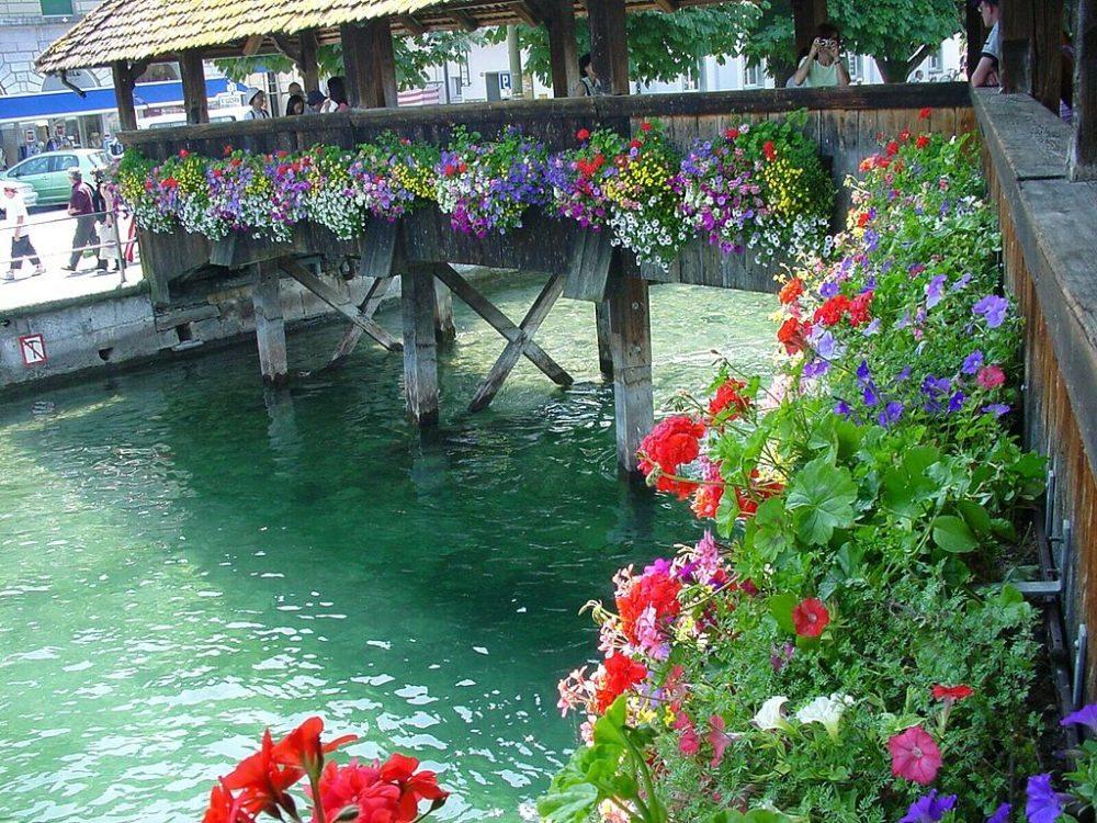 Blumenpracht an der Kapellbrücke in Luzern (Bild: Joergsam, Wikimedia, CC)