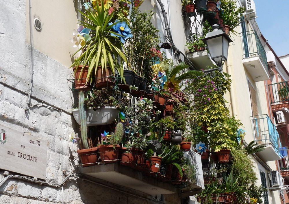 Blumenbalkon in der Altstadt von Bari (Bild: Dieter Schütz  / pixelio.de)