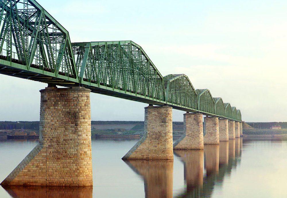 Eisenbahnbrücke über die Kama bei Perm, Russland (Bild: Sergei Mikhailovich Prokudin-Gorskii Collection, Wikimedia)