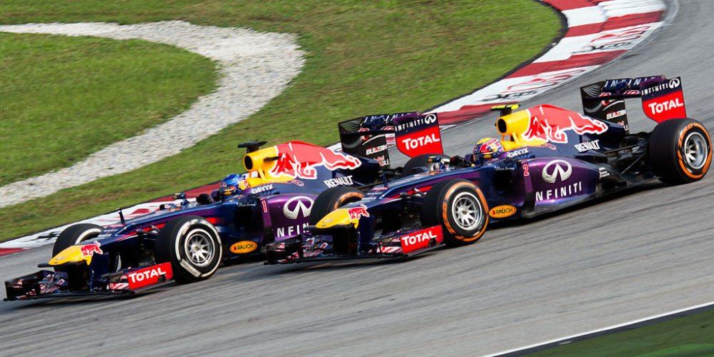 Formula 1 Malaysia Grand Prix, 2013: Sebastian Vettel überholt Mark Webber (Bild: Morio, Wikimedia, CC)