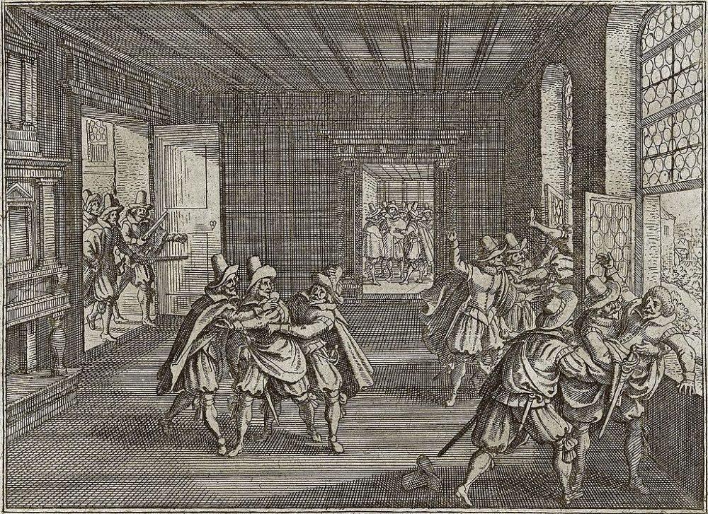 Fenstersturz zu Prag 1618, Gravüre von Johann Philipp Abelinus (Bild: Johann Philipp Abelinus, Wikimedia)