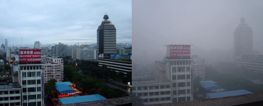 Peking im August 2005 – links: klare Luft nach Regenfall, rechts: Smog bei sonnigem Wetter (Bild: Bobak, Wikimedia, CC)