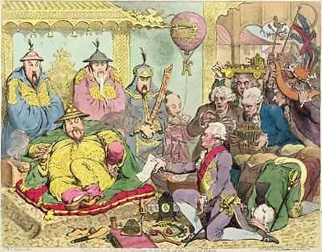 Macartney-Mission 1793, Karikatur von James Gillray (Bild: James Gillray, Wikimedia)