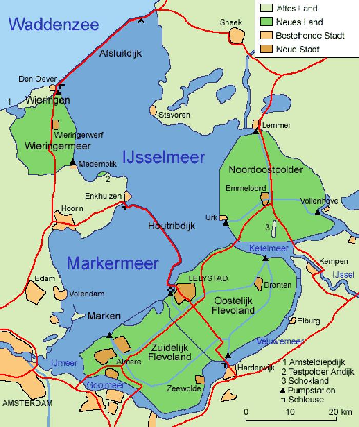 Karte der Zuiderzeewerke in den Niederlanden (Bild: Scipius, Voyager, Wikimedia, CC)
