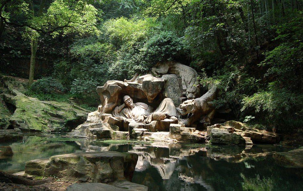 Hupao schläft am Tiger-Brunnen in Hangzhou (Bild: Sh1019, Wikimedia, CC)