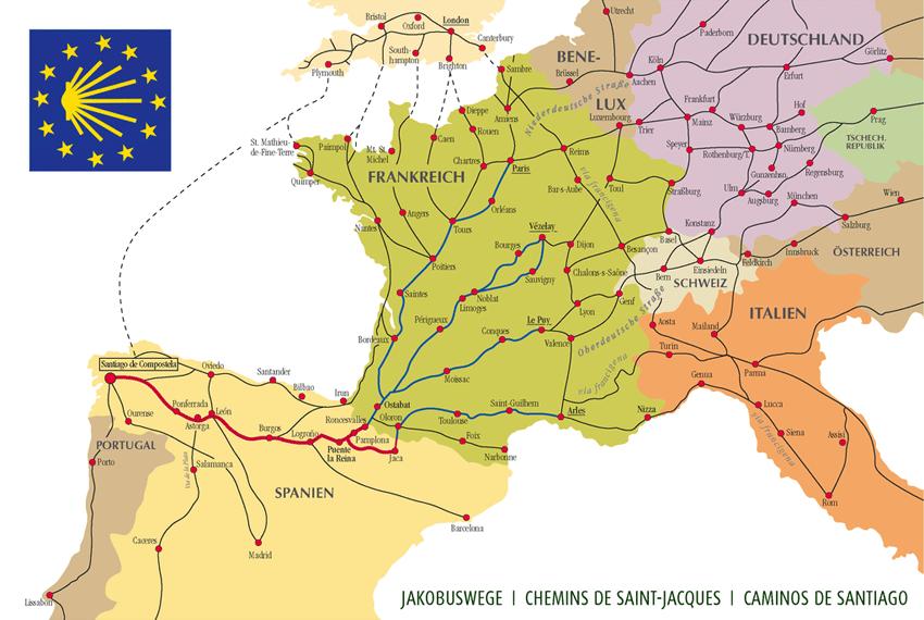 Karte der Jakobswege in Westeuropa (Bild: Manfred Zentgraf, Volkach, Germany, Wikimedia, CC)