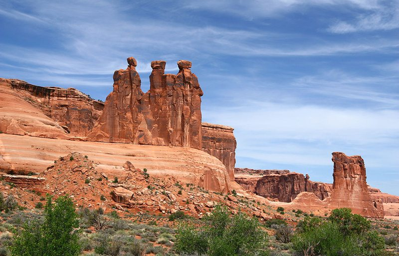 Three Gossips im Arches-Nationalpark, Utah (Bild: Sanjay Acharya, Wikimedia, CC) USA Reise