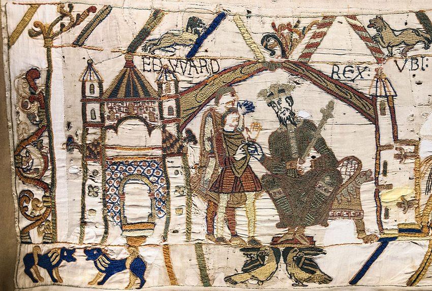 Teppich von Bayeux: König Edward erteilt Harald den Auftrag in die Normandie zu reisen (Bild: Myrabella, Wikimedia, CC)
