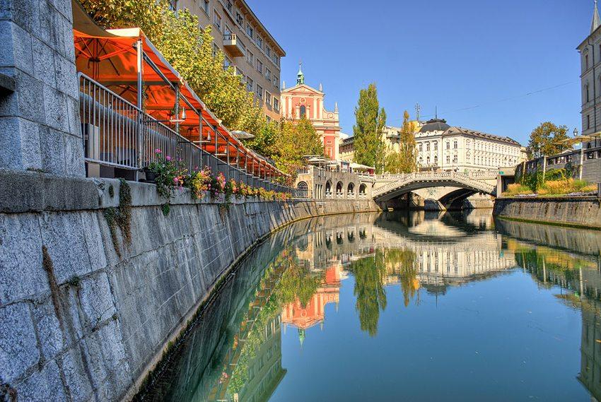 Ljubljanica- Fluss in der slowenischen Hauptstadt Ljubljana (Bild: Mihael Grmek, Wikimedia, CC)