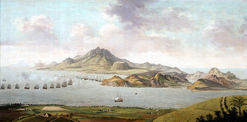 Schlacht bei St. Kitts 1783 (Bild: Thomas Maynard, WIkimedia)