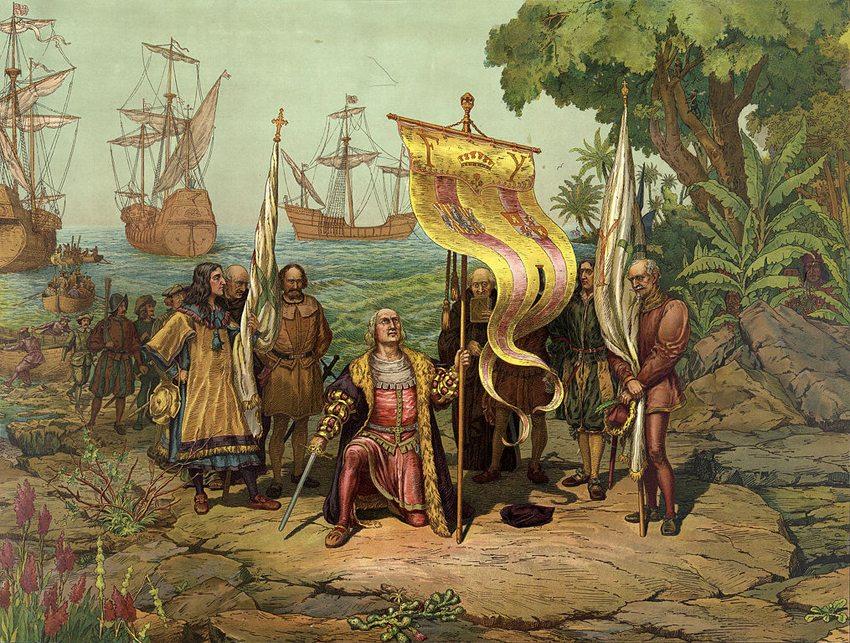 Christoph Kolumbus trifft in Amerika ein (Bild: Prang Educational Co., Wikimedia)