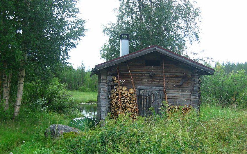 Sauna-Blockhütte in Finnland (Bild: SeppVei, Wikimedia, CC)