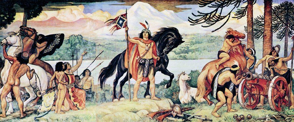 "Mapuche-Nationalheld Lautaro – Gemälde ""El joven Lautaro"" von Pedro Subercaseaux (Bild: Wikimedia)"