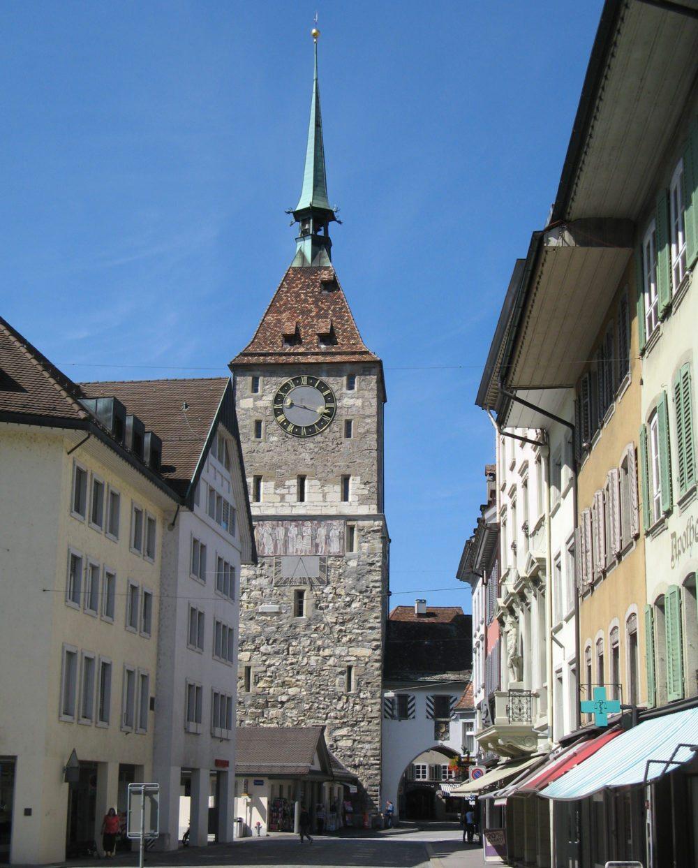 Der Obertorturm in Aarau (Bild: Voyager, Wikimedia, CC)