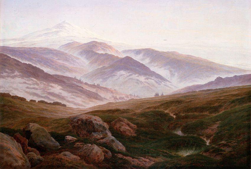 Caspar David Friedrich, Erinnerungen an das Riesengebirge, Öl auf Leinwand (Bild: Hermitage Torrent, Wikimedia)