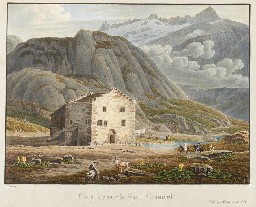 Grimsel – Hospiz und Grimselsee; Aquatinta, koloriert; Datum unbekannt. (Bild: Birmann, Samuel, Wikimedia)