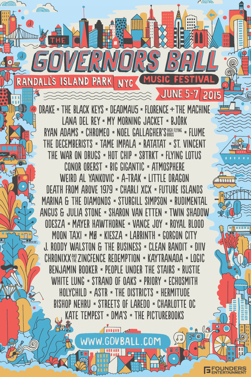 Lineup-Poster vom Governors Ball Music Festival. (Bild: © Governors Ball Music Festival / public domain)