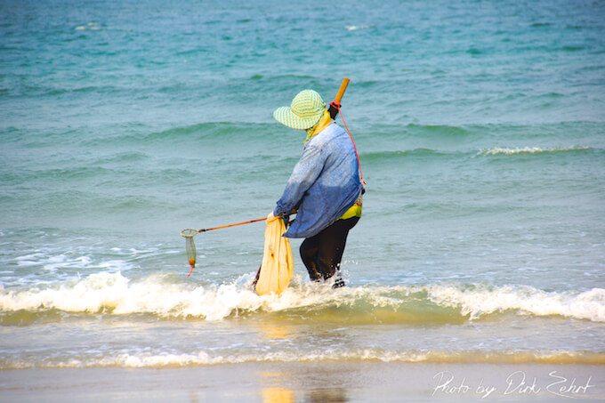 Bei Asiaten beliebt ist das Graben nach Muscheln, Krabben oder verlorenen Dingen. (Bild: © Dirk Zehrt)