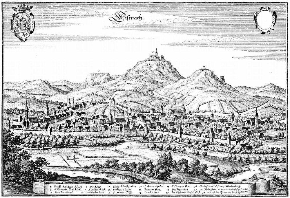 Merian-Stich von Eisenach - ca. 1647 (Bild: © Matthäus Merian - wiki.org)
