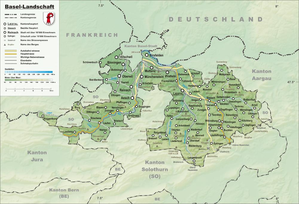 Reliefkarte des Kantons Basel-Landschaft (Bild: © Tschubby - CC BY-SA 3.0)