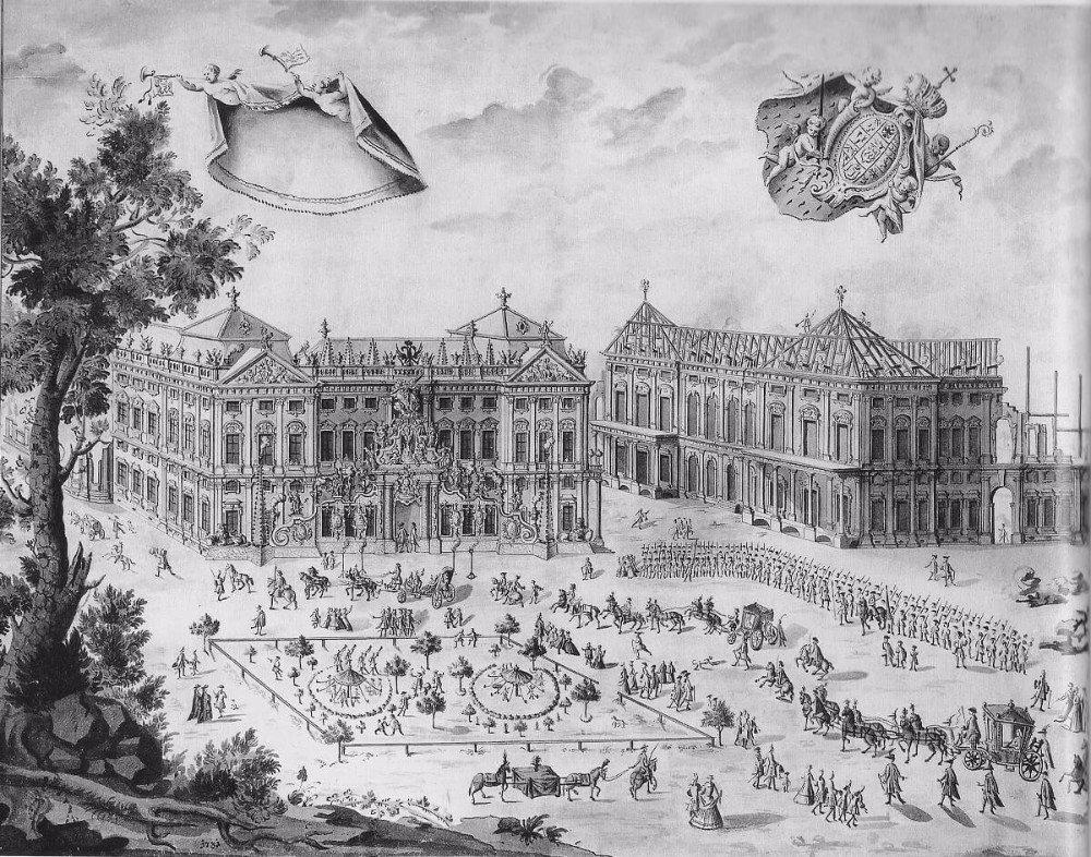 Residenz Würzburg im Bau (1731) (Bild: © Wolfgang Högler - wiki.org)
