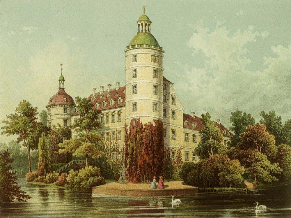 Neues Schloss in Muskau etwa zur Mitte des 19. Jahrhunderts (Bild: © wiki.org)