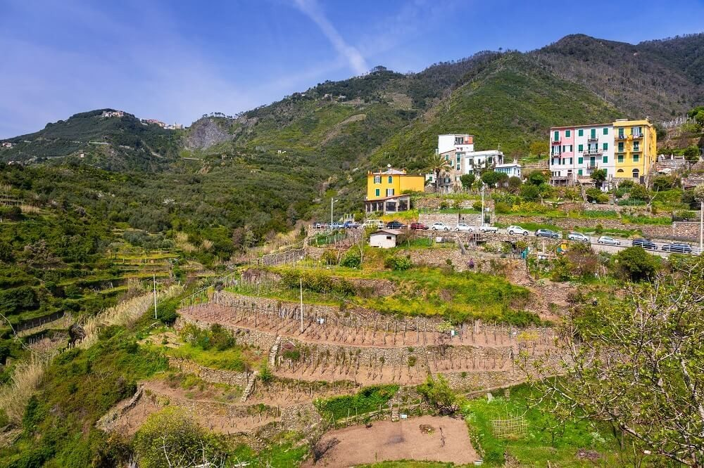 Die Berge der Cinque Terre präsentieren sich im Hinterland mit sanft geschwungenen, begrünten Höhen. (Bild: © Patryk Kosmider - fotolia.com)