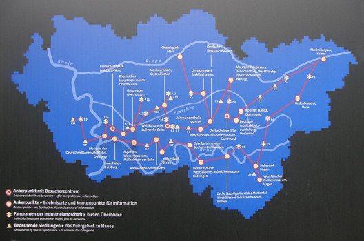 Die Route der Industriekultur führt von Duisburg nach Hamm und von Marl nach Hagen. (Bild: NatiSythen, Wikimedia, CC)