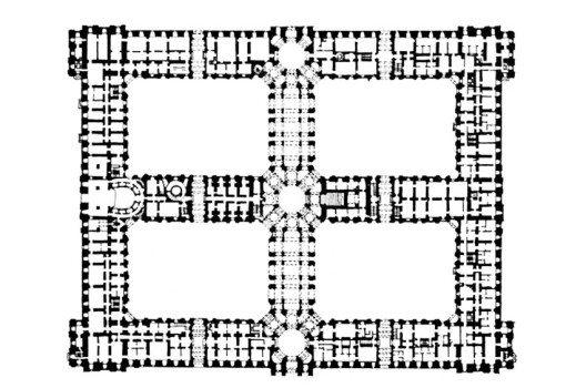 Grundriss des Palastes nach dem Originalplan von Luigi Vanvitelli (Bild: Wikimedia, public domain)