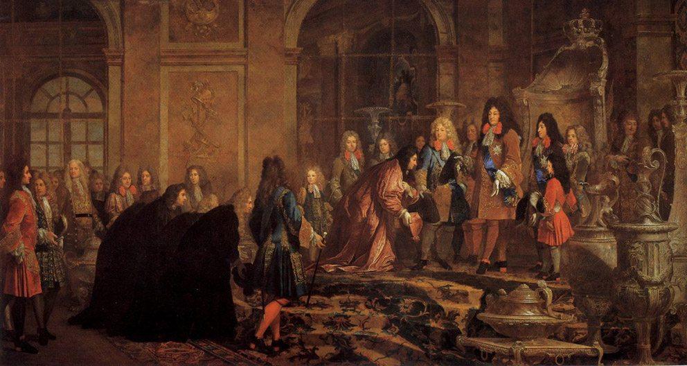 Louis XIV. empfängt den Dogen von Genua Francesco Maria Lercari Imperiale in Versailles, 1685 (Bild: Wikimedia, public domain)