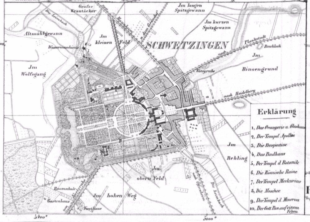 Plan von Schwetzingen (um 1840) (Bild: © wiki.org)