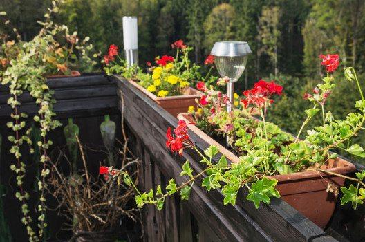 Wenn kein Stromanschluss auf dem Balkon vorhanden ist, eignen sich Solarlampen. (Bild: PeterVrabel – shutterstock.com)