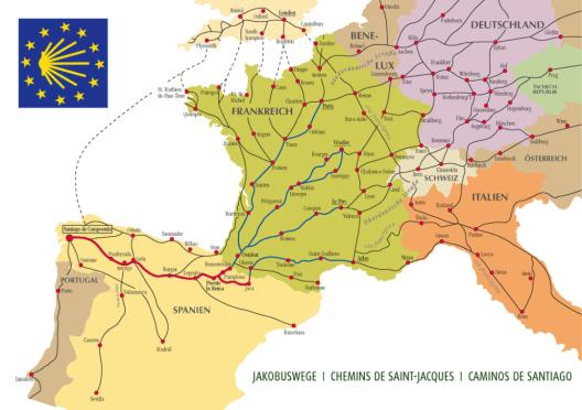 Jakobswege in Europa (Bild: Manfred Zentgraf, Wikimedia, CC)