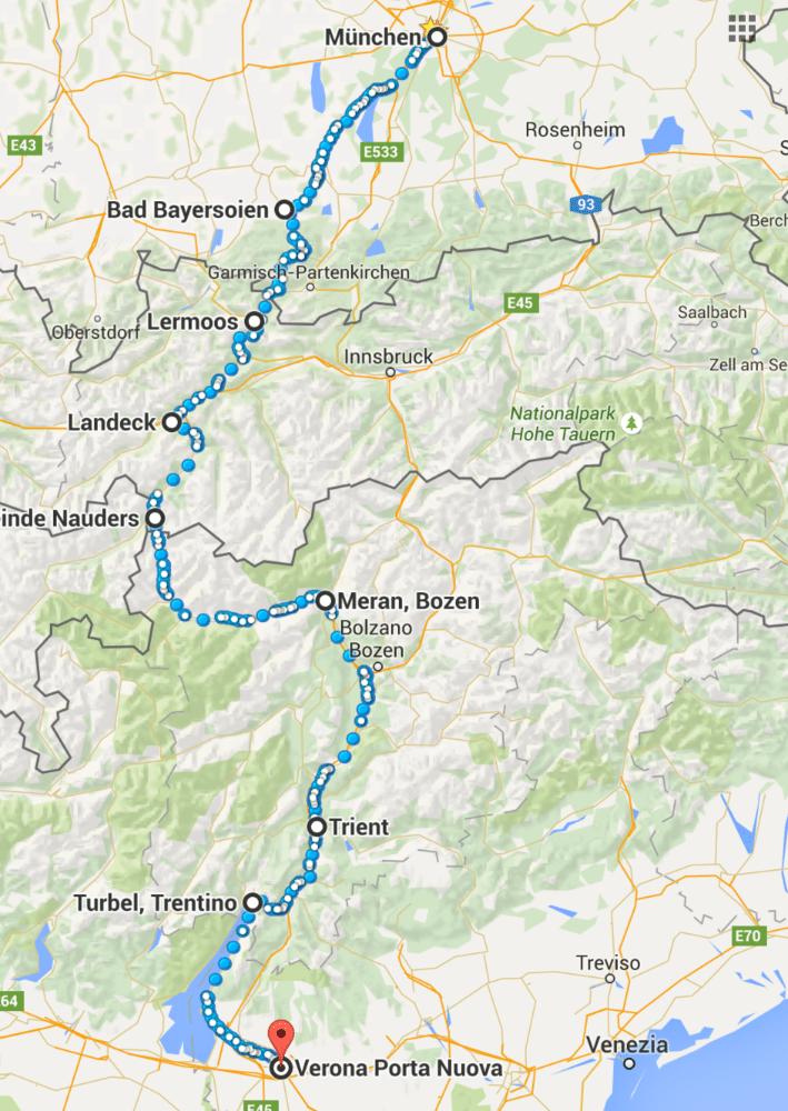 So sieht die Fahrradtour auf der Karte aus. (Screenshot Google Maps)
