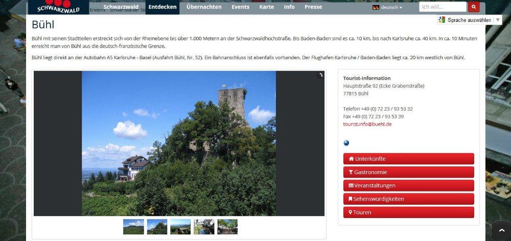 Auf staedte-schwarzwald.info finden sich ausführliche Informationen für einen Städteurlaub in Bühl. (© staedte-schwarzwald.info)