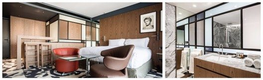 Rauer Marmorboden trifft auf holzverkleidete Wände und natürliche Farben. (Bild: © Design Hotels™)