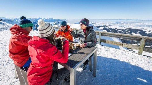 Moleson Fondue Ski und Weitsicht.
