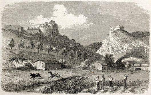 Zeichnung des Fort de Joux, um 1860. (Bild: Marzolino – shutterstock.com)