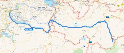 Die Route Zürich - Hochgurgl (Bild: © iMaps)