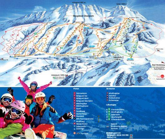 15 präparierte Pisten stehen zur Auswahl. Unser Bild zeigt den aktuellen Pistenplan. (Bild: © Bergbahnen Hindelang-Oberjoch)