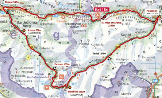 Streckenführung des ARLBERG Giro am 31. Juli 2016 (Bild: TVB St. Anton am Arlberg)