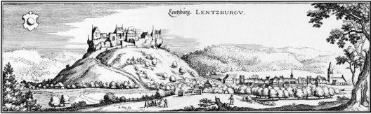 Ansicht der Lenzburg von Matthäus Merian um 1642 (Bild: Wikimedia, public domain)