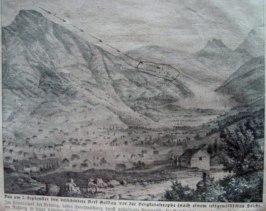 Zeitgenössischer Stich von Goldau vor der Bergkatastrophe (Bild: Wikimedia, public domain)