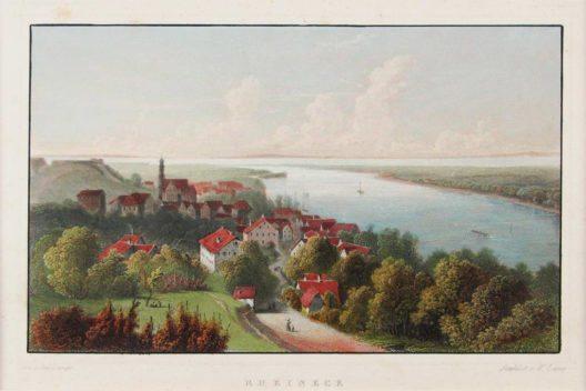 Rheineck am Bodensee. Kol. Stahlstich von W. Lang nach Julius Lange, 19. Jh. (Bild: W. Lang nach Julius Lange, Wikimedia, public domain)