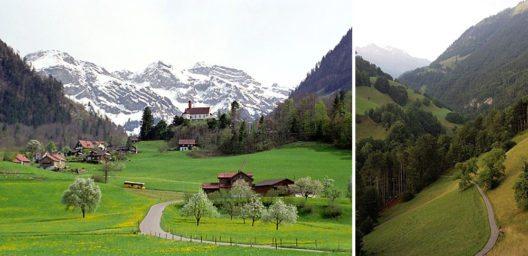 Links - Flüeli-Ranft; rechts – Ranftschlucht (Bilder: Roland Zumbühl, Arlesheim, Wikimedia, GNU)